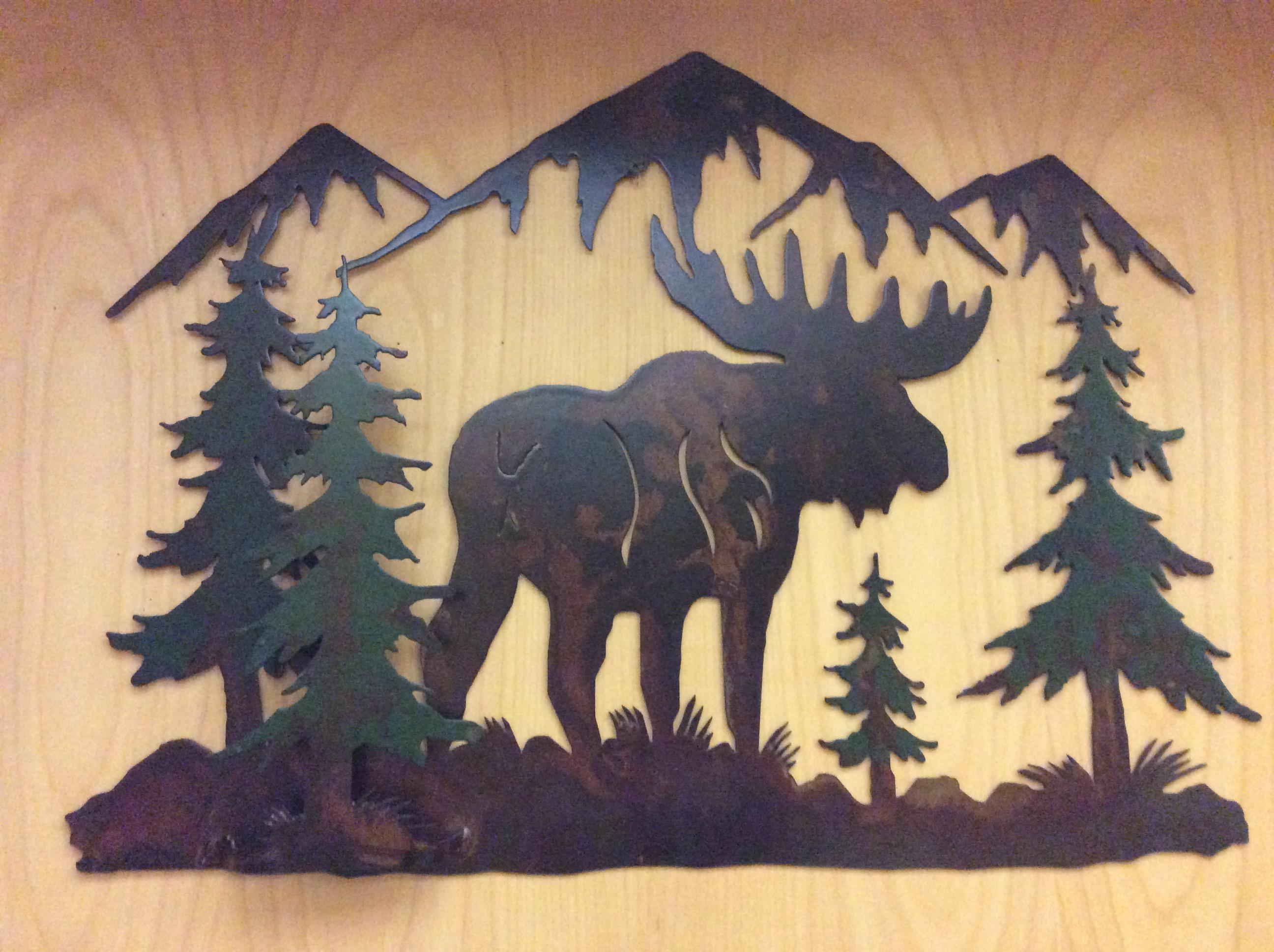 2\' 3-D Moose Forest Mountain Range Scene Wall Art - Bear\'s Den Colorado