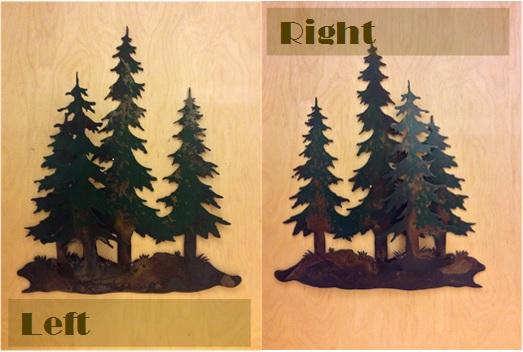 Quad Pine Tree 3-D Metal Wall Art