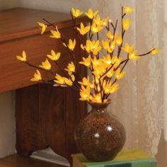 60 Light Forsynthia Lights in Vase