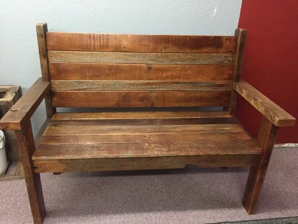 furniture with bench barn wood rustic back barnwood