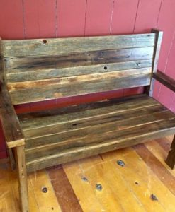 Barn Wood Bench with back2