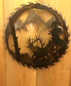 3-D Bull Elk Saw Blade Metal Art