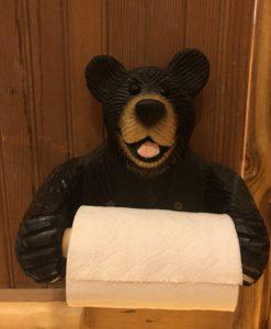 Wood Bear Toilet Paper Holder
