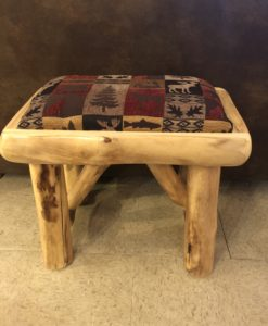 Aspen Log Bench With Upholstered Seat 24""