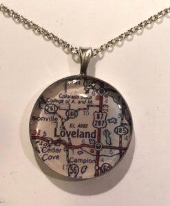 Map of Estes Park or Loveland Colorado Necklace