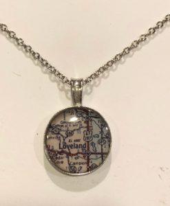 Map of Loveland or Estes Park Colorado Necklace