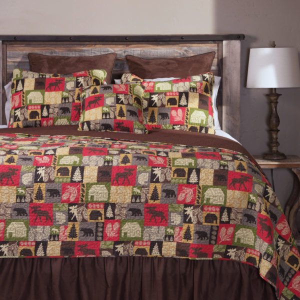 cabin in the woods king quilt bear 39 s den colorado. Black Bedroom Furniture Sets. Home Design Ideas