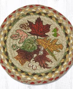 "Autumn Leaves 10"" Round Braided Trivet"