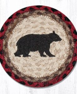 "Cabin Bear 10"" Round Braided Trivet"