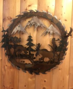 3-D Moose Family Saw Blade Metal Art