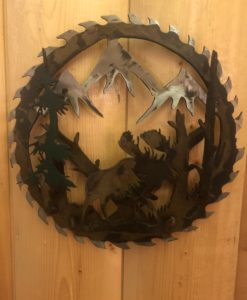 3-D Bull Moose Saw Blade Metal Art