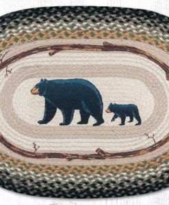 Mama and Baby Bear 20 x 30 Oval Braided Jute Rug