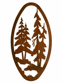WA-72086 – oval-pine-forest-metal-wall-art