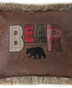 Bear Plaid Text Pillow